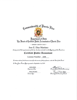 Jose E. Diaz Martinez License 2019