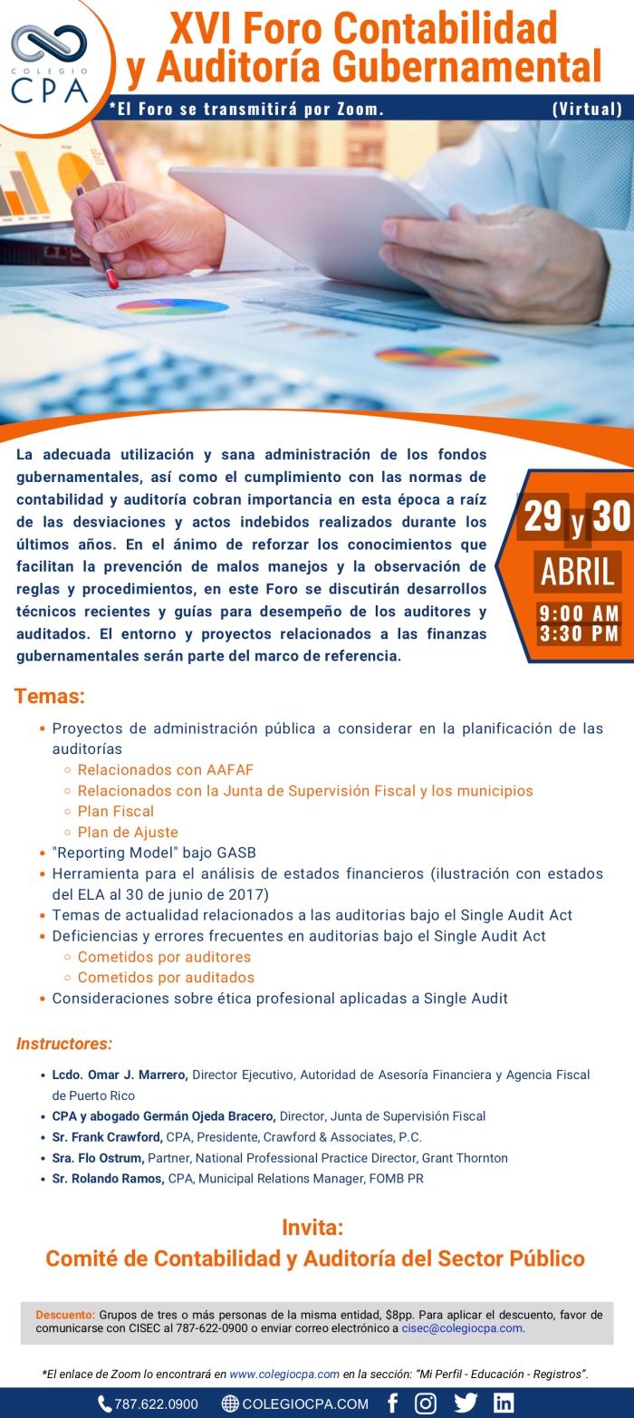 2021-175LL - XVI Foro Contabilidad y Auditoría Gubernamental - 29 y 30 de abril de 2021(1)